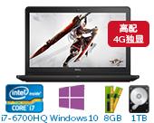 戴尔(DELL)游匣Ins15PR-2749B 15.6英寸高配游戏非触控笔记本电脑(i7-6700HQ 8G 1T+8G GTX 960M 4G独显 FHD Win10)湛黑