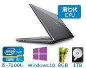 戴尔 (DELL)新灵越Ins15-5567-R1545A 15.6英寸多彩非触控笔记本电脑(第7代i5-7200U 8GB 1TB R7 M445 4G独显 Win10)复古灰