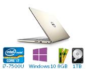 戴尔 DELL灵越燃7000 Ins14-7460-R1725G 14.0英寸微边框非触控笔记本电脑(第7代 i7-7500U  8GB 1TB+128GB SSD 940MX 2G独显 FHD Win10)溢彩金