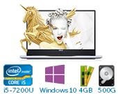 戴尔 DELL灵越燃7000 Ins14-7460-R1525S 14.0英寸微边框非触控笔记本电脑(第7代 i5-7200U Windows 10 家庭版 4GB 500G+128GB SSD 940MX 2G独显 FHD)流光银