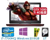 戴尔(DELL)新游匣Master15 Ins15-7567-R1845B 15.6英寸高配游戏非触控笔记本电脑(i7-7700HQ 8GB 1T+128G SSD GTX 1050Ti 4G独显 Win10)湛黑